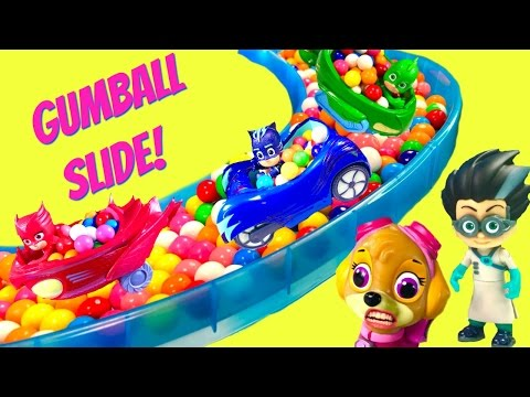 PJ Masks and Paw Patrol Giant Gumball Slide & Pool with Toy Surprises   Fizzy Toy Show