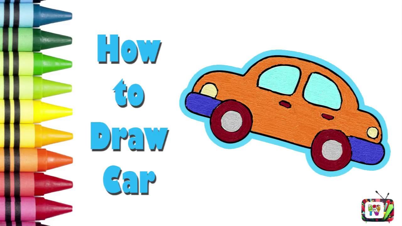 How To Draw Car For Kids Painting Car Cocuklar Icin Kolay Araba