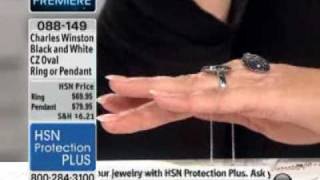 Charles Winston 1.50ct Black and White CZ Sterling Silver Oval Ring at HSN.com.flv