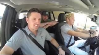 Justin Timberlake, Niall Horan and Justin Rose arriving at Augusta National