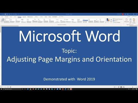 Adjusting Page Margins And Orientation - Word 2019