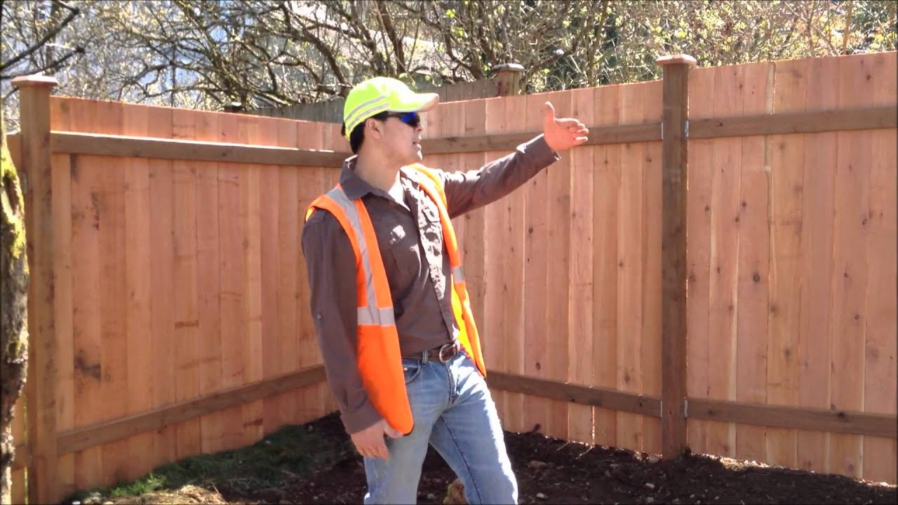 Cedar Fence Installation Step Down Style Youtube