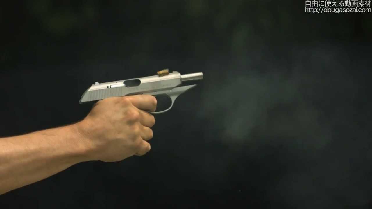 動画素材】小型銃の発砲の瞬間 ...