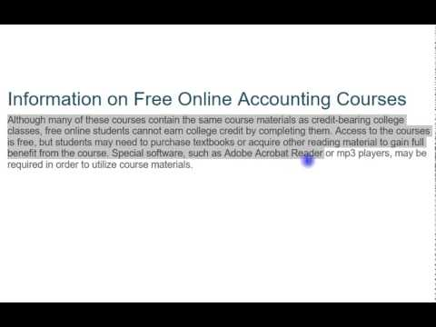 How the Information on Free Online Accounting Courses.