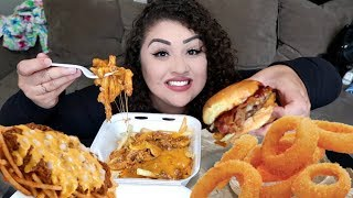 HUGE ONION RING BURGER & THE BEST DANG CHILLI CHEESE FRIES MUKBANG | STORYTIME