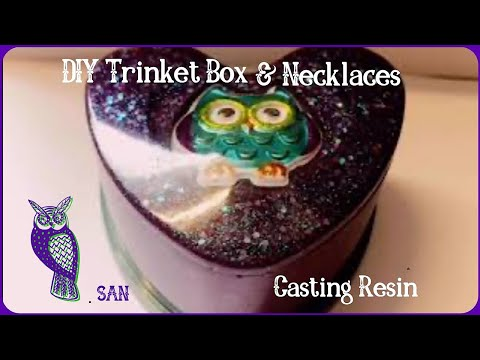 DIY Trinket Box & Necklaces. Mixing Resin with Diamond Glitter. Resin Art