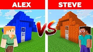 M NECRAFT   ALEX Vs STEVE WATER HOUSE Vs LAVA HOUSE  Minecraft Animation