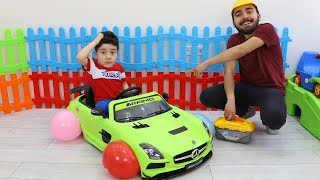 Yusuf and Uncle pretend play with Cordless Car