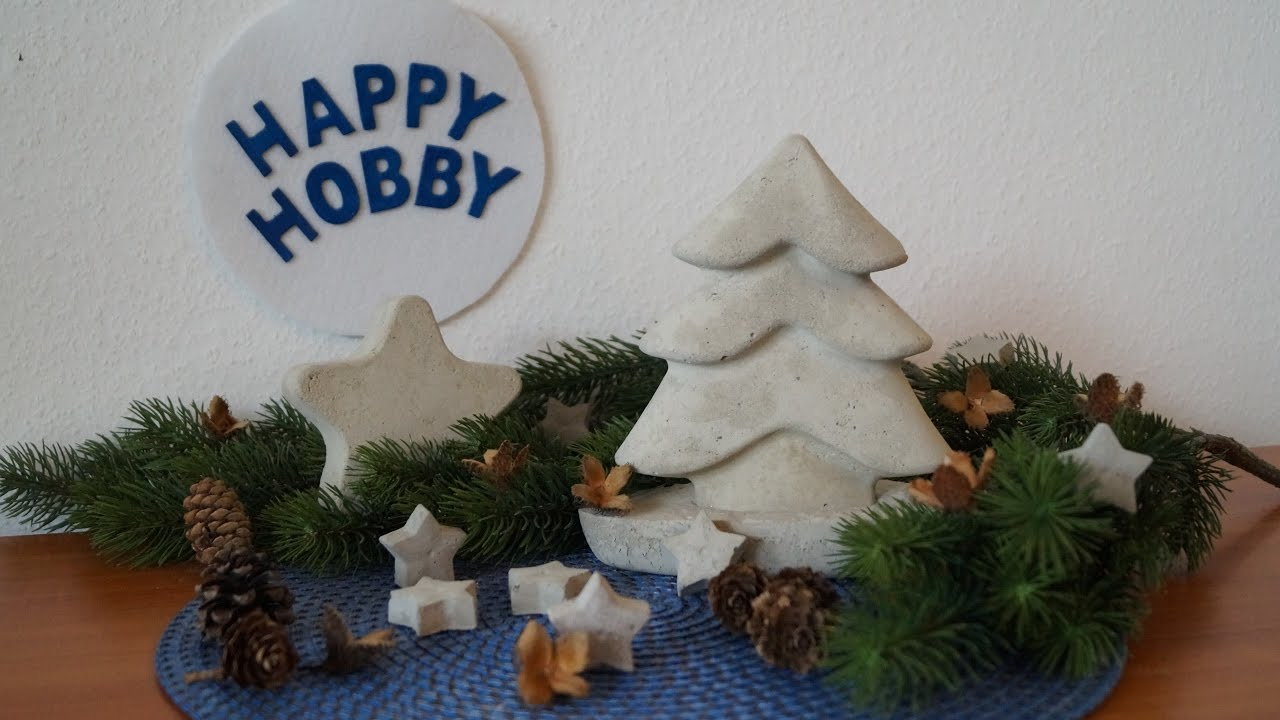 weihnachtsbaum und stern aus beton basteln mit. Black Bedroom Furniture Sets. Home Design Ideas