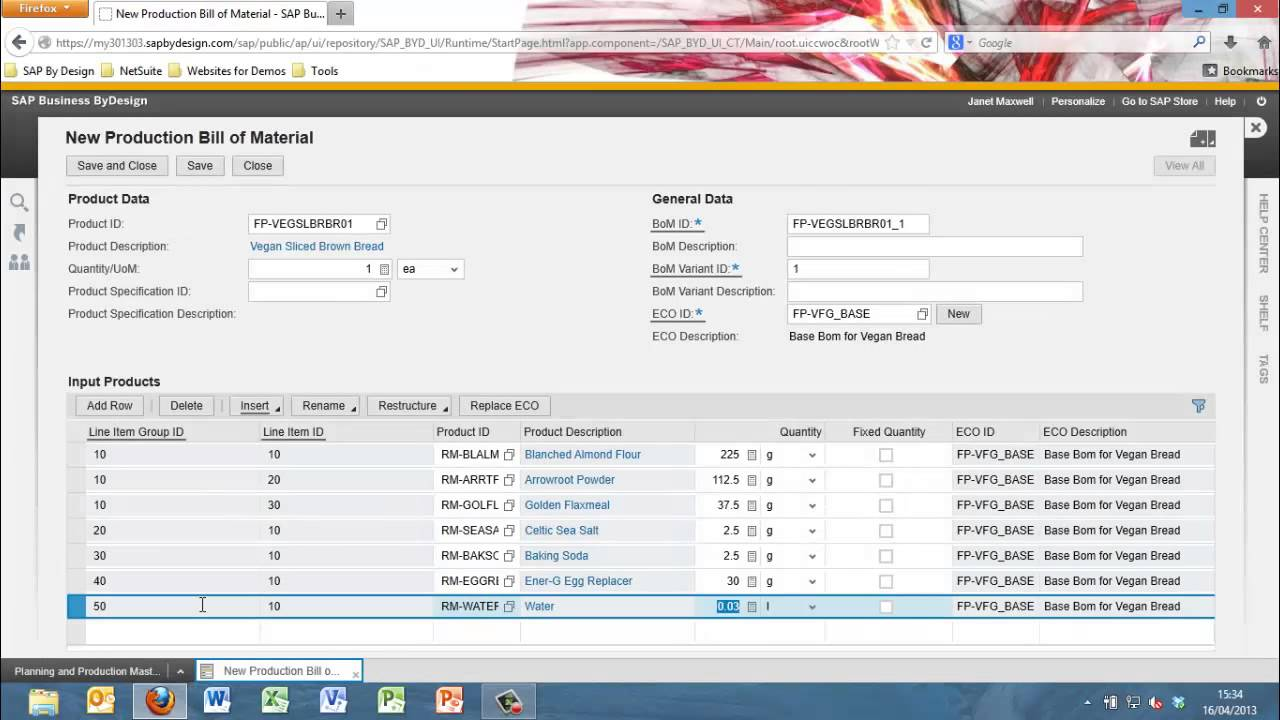 SAP Business ByDesign - Bill of Material - YouTube