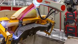 igm AV robotic welding of railway bogie components - FMS automated flexible manufacturing system