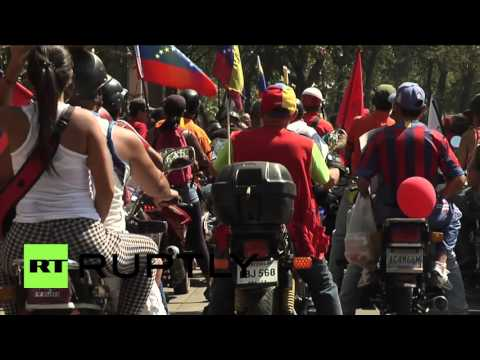 Venezuela: Thousands honour Hugo Chavez with motorcycle ride through Caracas