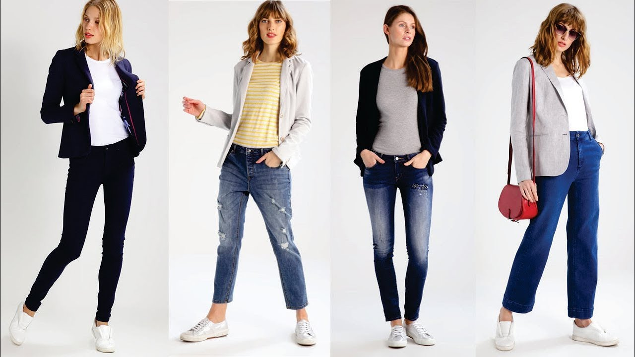 Blazer mujer con jeans y zapatos planos - Outfits casual 2018/2019 - YouTube