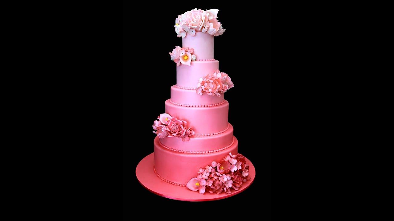 Pink Ombré Wedding Cake - YouTube