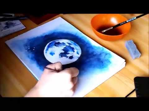 How to draw: The moon | Watercolor | LauraKathleenDrawings