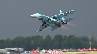 Ukrainian Su-27 Flanker's thundering beast of a display at RIAT