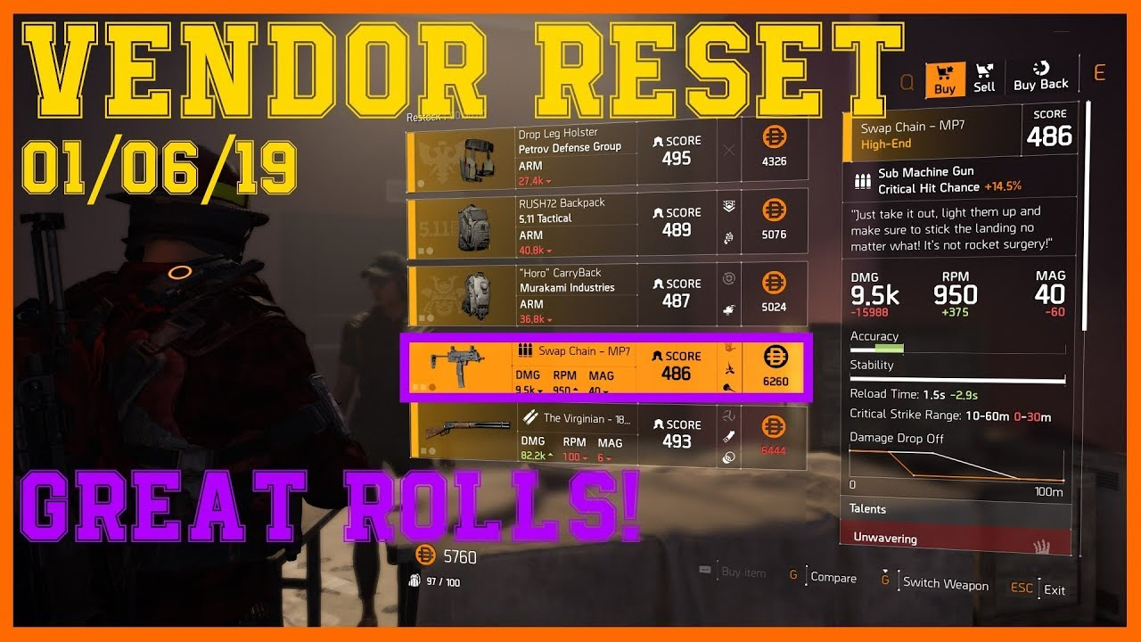 The Division 2   Weekly Vendor Reset 01/06/19