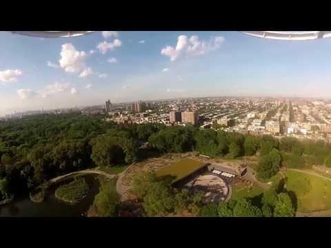 DJI Phantom Aerial View Following the Lake at Prospect Park, Brooklyn