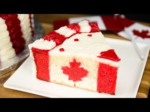 Canadian Flag Cake for Canada Day from Cookies Cupcakes and Cardio