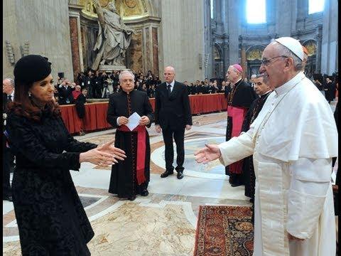 Cristina Fernndez en la ceremonia de asuncin del Papa