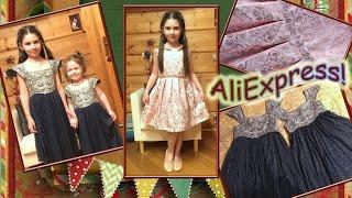 Новогодние детские платья с AliExpress!Жаккардовое платье для девочки с Алиэкспресс.