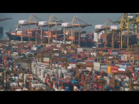 The time-lapse video showing the life of Singapore container terminal.