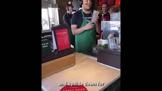 A Starbucks employee reading out an unusual order.