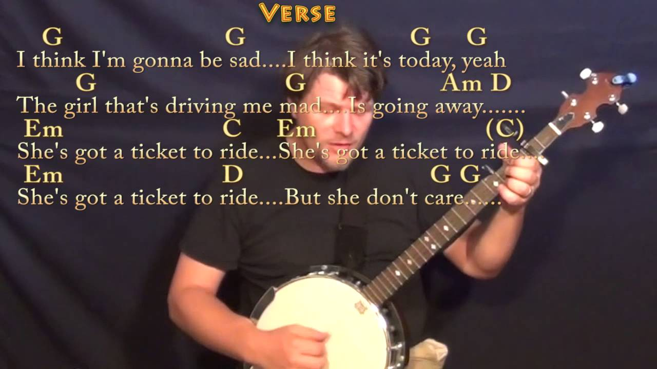 Ticket To Ride The Beatles Banjo Cover Lesson With Chordslyrics