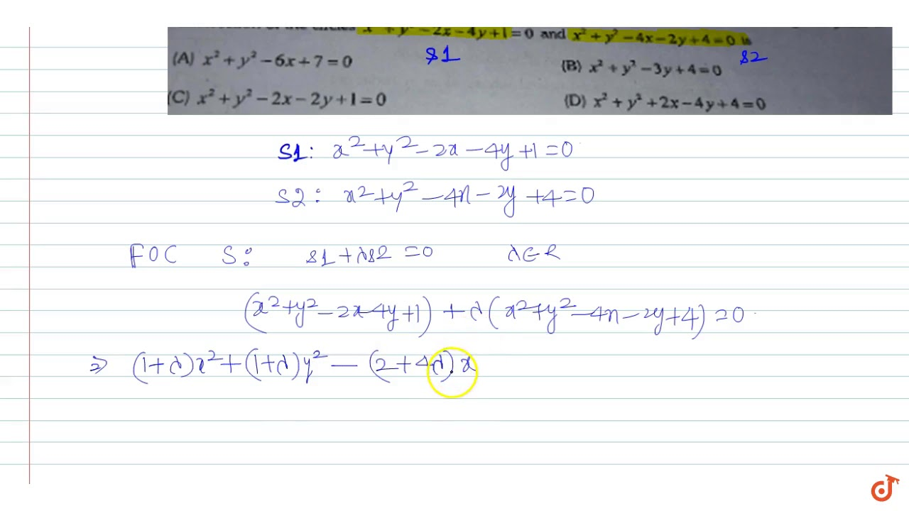 The equation of the circle having its centre on the line `x + 2y-3 ...
