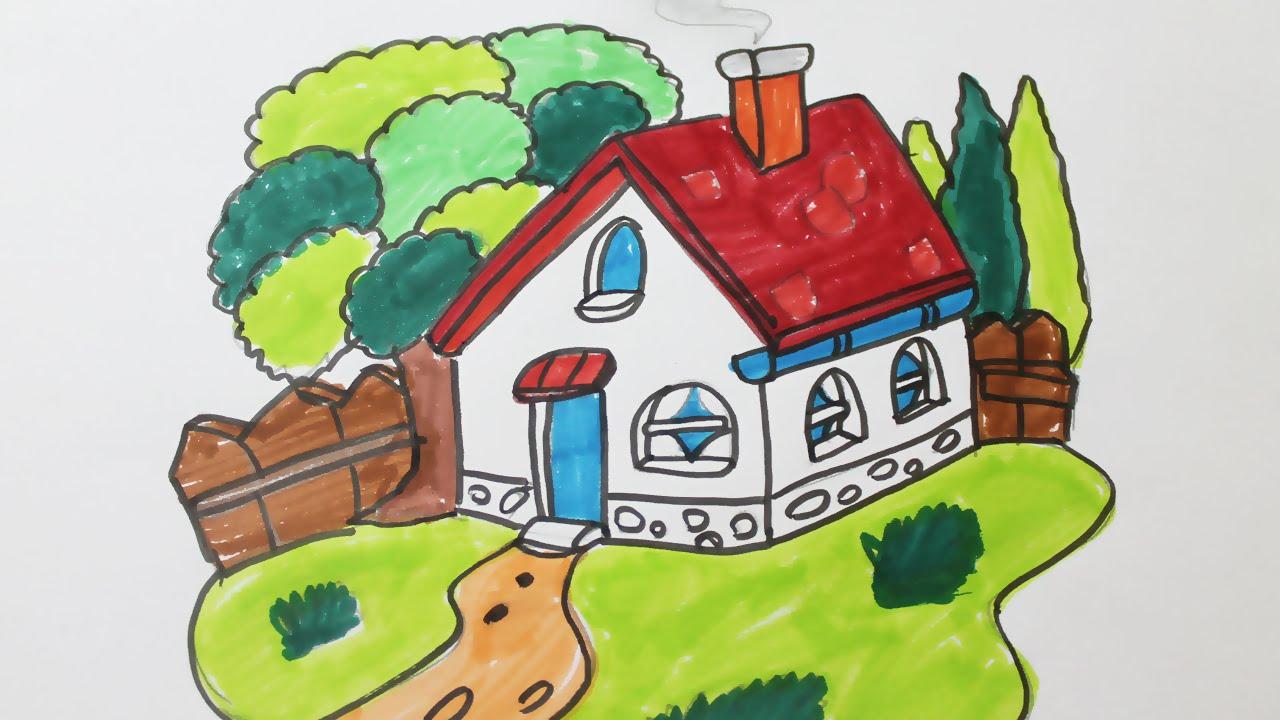 Comment Dessiner Une Maison Avec Un Jardin Youtube