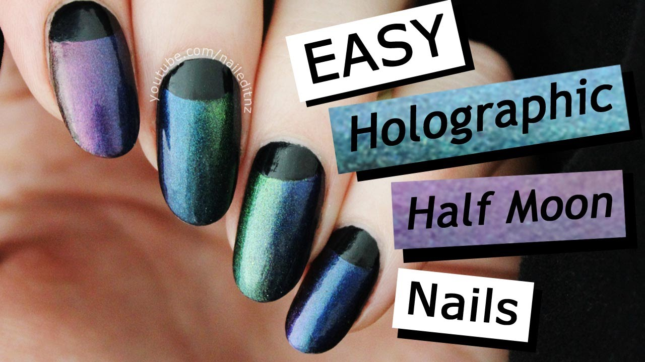 EASY! Holographic/Multichrome Half Moon Gradient Nails   Nailed It ...