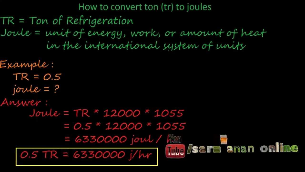 how to convert ton(tr) to joule