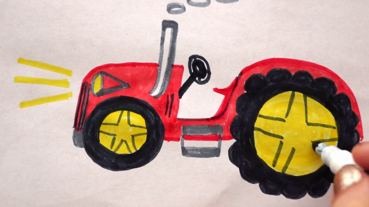traktor zeichnen lernen f r kinder how to draw a tractor. Black Bedroom Furniture Sets. Home Design Ideas