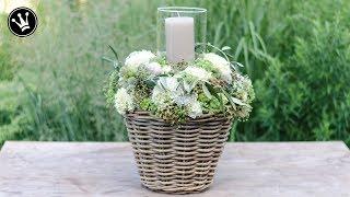 DIY - WINDLICHT mit HORTENSIEN, BEEREN und BLÜTEN im Korb   Floristik   Hochzeitsgeschenk