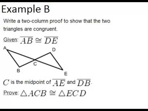 Sss Triangle Congruence Examples Geometry Concepts Youtube