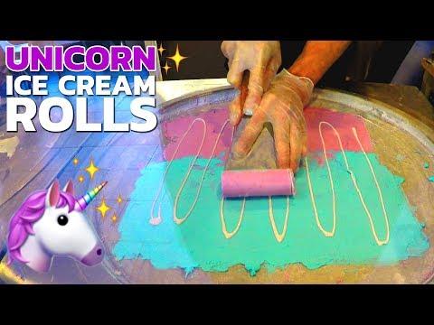 Ice Cream Rolls   Unicorn Ice Cream Rolls 🦄 / oddly satisfying video / Ice Cream by rollies in USA