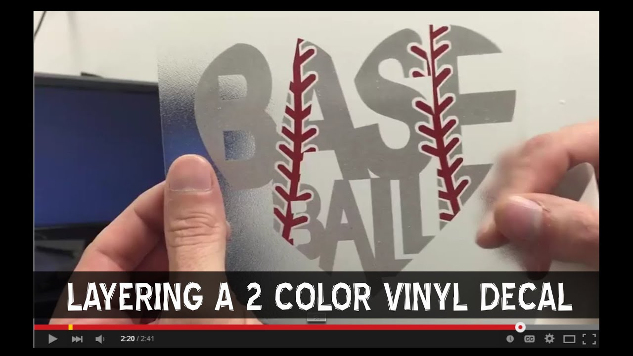 How To Layer A Multi Color Baseball Vinyl Decal For A Car Window - Custom vinyl baseball decals