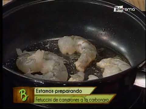 Fetuccini de camarones a la carbonara