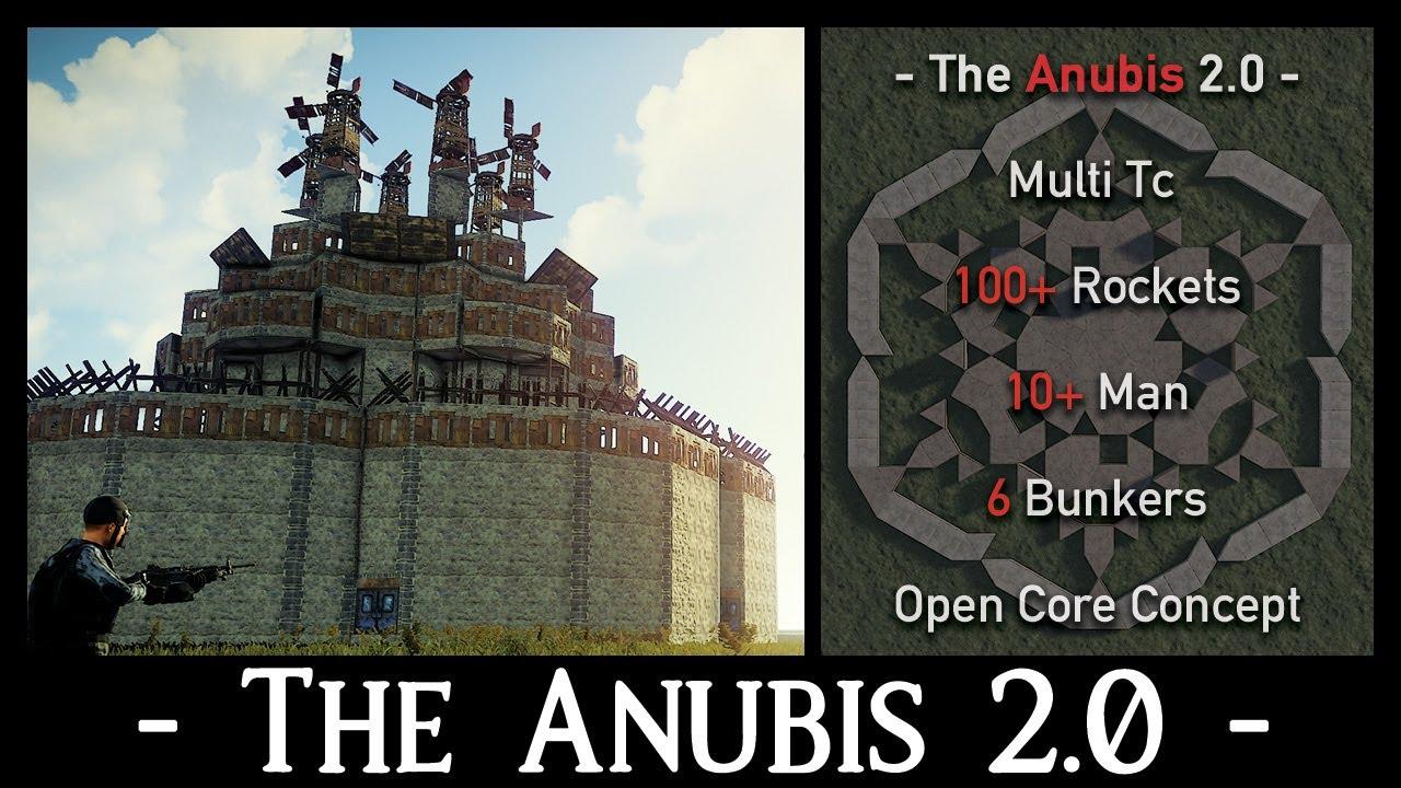 Anubis v2   Open Core, Peekdowns, Roof Bunkers, 100+ Rockets   Rust Clan Base Design