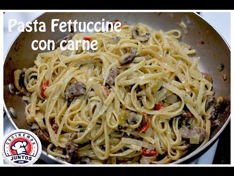Pasta Alfredo fettuccine con carne y vegetales 🍝 En vivo