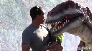 Hilarious dinosaur prank