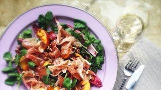 Peach, Watercress, Pecan & Parma Ham Salad With Orange Blossom Dressing