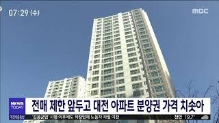 전매 제한 앞두고 대전 아파트 분양권 가격 치솟아/대전…