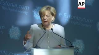 Merkel on NATO defence in Estonia address