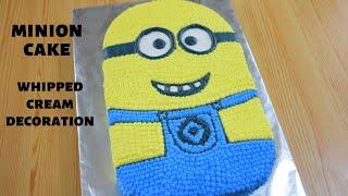 EASY MINION CAKE TUTORIAL  NO FONDANT  WHIPPED CREAM DECORATION