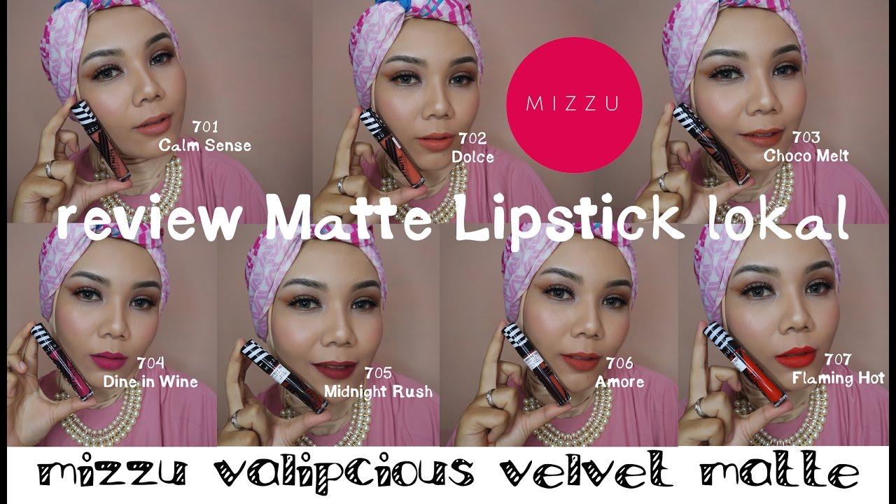Review Swatches Mizzu Valipcious Velvet Matte Lipstick Produk
