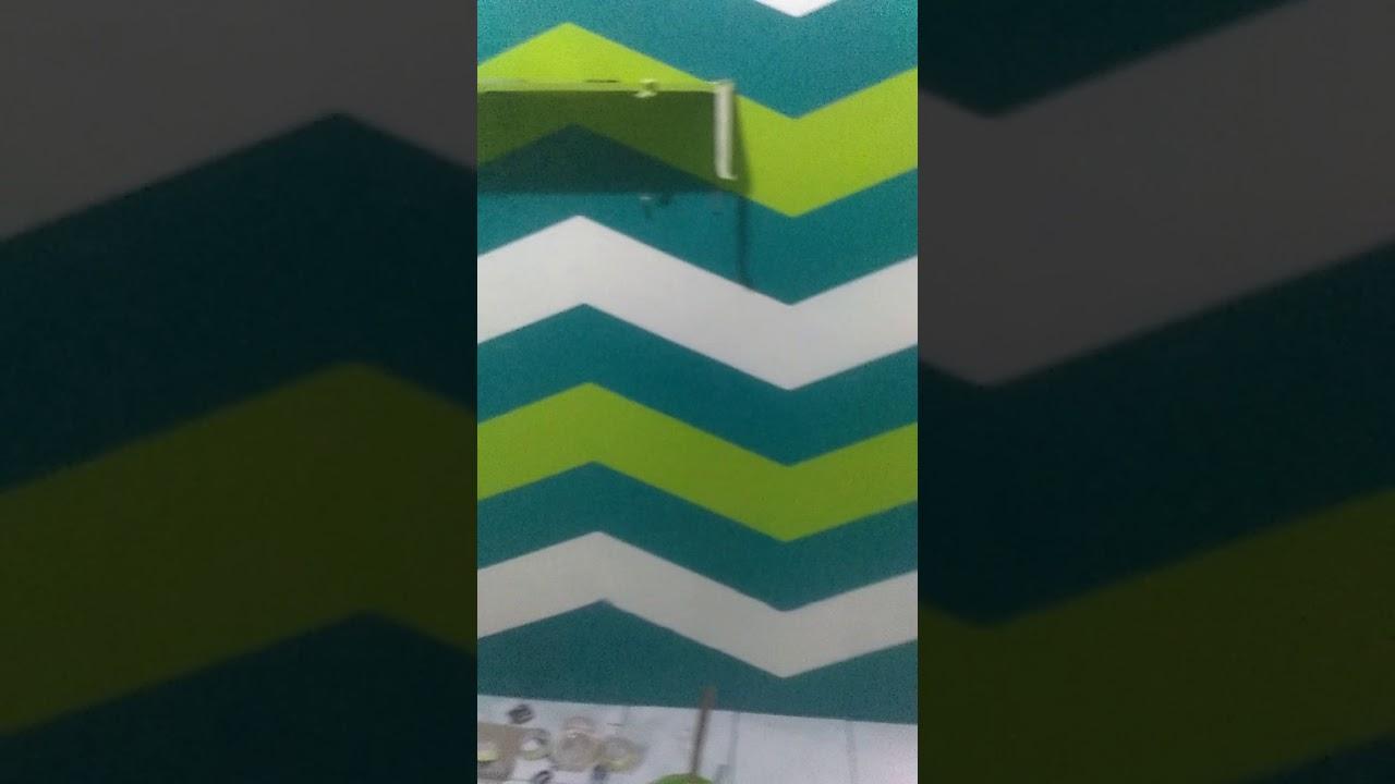 Masih proses cat mengecat tembok motif Zigzag - YouTube