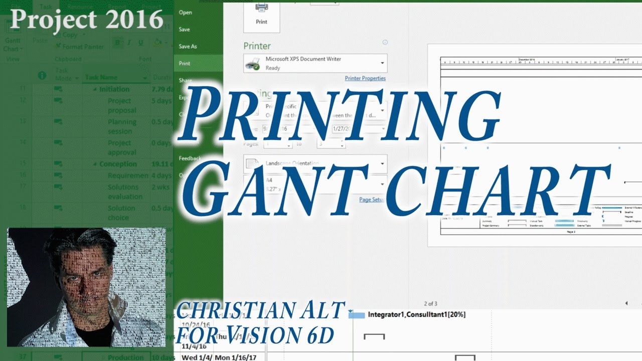 14 Ms Project 2016 Print Gantt Chart Easy Youtube