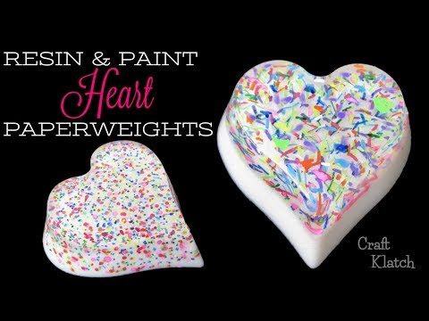 Resin and Paint Heart Paperweights DIY | Craft Klatch