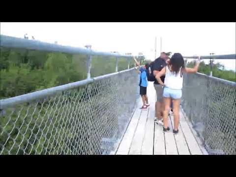 Oakville Moms Visiting Scenic Caves On The Suspension Bridge - Collingwood, Ontario.